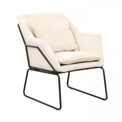 Csővázas fotel párnával és fekete vázzal, bézs - RELAX